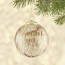 gold white cut glass ball ornament crate and barrel