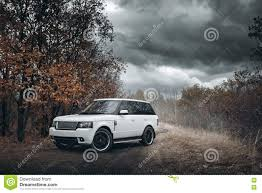 land rover range rover off road white car land rover range rover stand on countryside off road at
