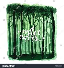 Deep Forest Green Mystic Deep Forest Green Watercolor Background Stock Vector
