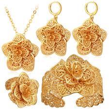 big flower necklace images U7 18k gold plated big flower pendant necklace bracelet earrings and r jpg