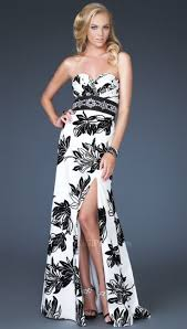 gigi black and white floral prom dress 16039 by la femme french