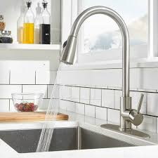 kitchen cabinet sink faucets new commercial pull kitchen sink faucet with sprayer brushed nickel cover