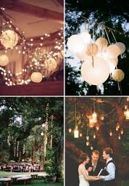 Backyard Wedding Lighting Ideas by Twinkle Lights And Lit Lanterns Make For A Magical Outdoor