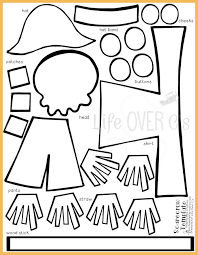 printable preschool cutting activities cut and paste scarecrow craft for fall