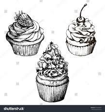 Cherry Cupcake Invitation Card Royalty Vector Monochrome Background Hand Drawn Sweet Stock Vector