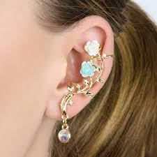 ear cuffs goldtone and blue ear cuff