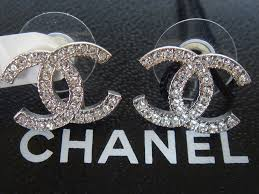 cc earrings brand new silver chanel large cc logo earrings 2014 ebay