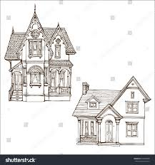 victorian cute little houses set outline stock vector 678260488