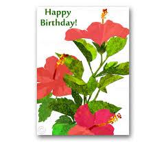 happy birthday hibiscus flowers 5x7 tropical