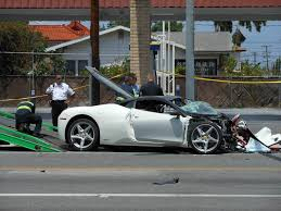 slammed ferrari car crash drunk hyundai driver crashes into ferrari 458 italia