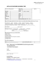 free business trip application form templates at to company