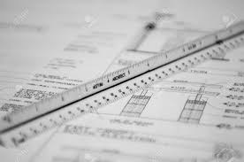 floor plan cad scale ruler and floor plan cad drawings for a project stock photo