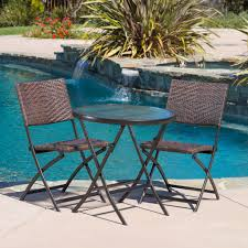 cantinela 3pc outdoor wicker folding bistro set great deal