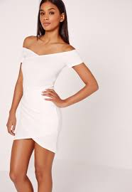 white bodycon dress wrap bardot bodycon dress white missguided