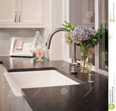 Interior Design With Flowers Sink With Flower Arrangement In New Home Stock Photography Image