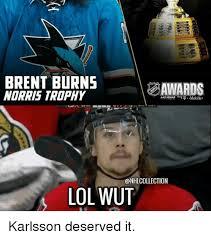 Lol Wut Meme - brent burns norris trophy las vegas mobile lol wut karlsson