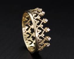 Crown Wedding Rings by Diamond Crown Ring Etsy