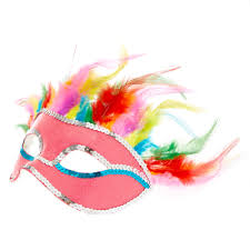 feather mask pink rainbow feather mask s