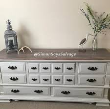 grey u0026 wood stained top antique dresser tv stand credenza