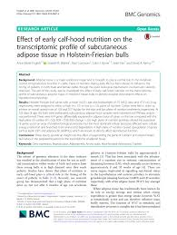 PDF Effect of early calf hood nutrition on the transcriptomic