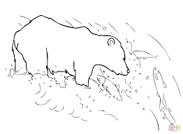 grizzly bear is fishing coloring page free printable coloring pages