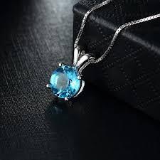blue gem necklace images Climple single round blue gem 925 sterling silver necklace jpg