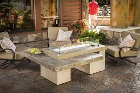 outdoor greatroom fire table outdoor greatroom linear uptown fire pit table brown porcelain tile