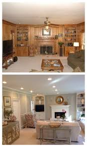 living room before and after paneling painted updated new