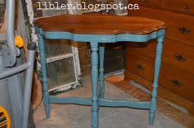 stained table top painted legs macgirlver antique scalloped edge table given new life