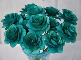 teal roses teal wooden roses two dozens with wire stem 2 inches