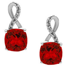 ruby drop earrings sterling silver cushion cut ruby birthstone diamond drop earrings