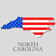 america map carolina map of the state of carolina and american flag illustration