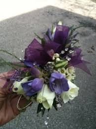 purple corsage wrist corsage purple white mix in in at sight