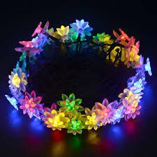 Solar Powered String Lights Patio by Ledertek Lotus Flower Solar Powered Fairy Lights