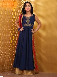 solid navy silk gown buy girls indian wear at g3 fashion