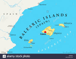 Menorca Spain Map by Balearic Islands Political Map With Capital Palma Archipelago Of