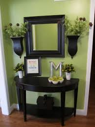furniture half round black wooden entryway table with shelf on