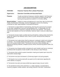 Preschool Teacher Resume Objective 80 Teacher Job Resume Format Sample Resume For Freshers