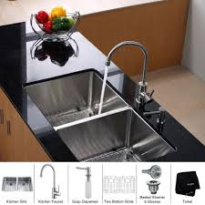 Good Kitchen Faucet by Kitchen Two Handle Arc Faucet On Stainless Kitchen Sink Design