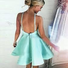 a line halter backless mint green satin short homecoming dress