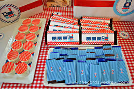 red blue train party dimple prints