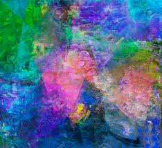 abstract multicolor layer artwork opaque and transparent oil