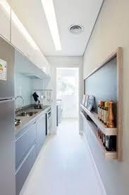 Long And Narrow Kitchen Designs Narrow Kitchen Designs Long Narrow Kitchen In White And Black