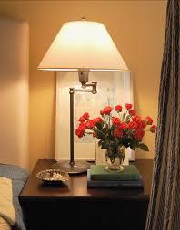 bedroom lamps for nightstands golden patterned grey wallpaper