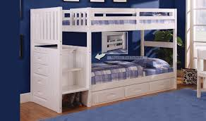 Wood Magazine Bunk Bed Plans by Discovery World Furniture White Staircase Mission Bunk Bed Twin Twin