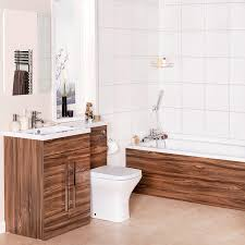curved bathroom suite with lh walnut combi vanity unit