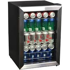 Stainless Steel Mini Fridge With Glass Door by Newair Ab 850 84 Can Stainless Steel Beverage Cooler Walmart Com