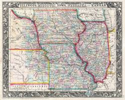 Map Of Ks File 1860 Mitchell Map Of Iowa Missouri Illinois Nebraska And