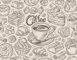 vector hand drawn dessert coffee sketch and food doodle stock