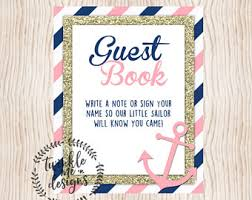 baby shower sign in book nautical guest book etsy